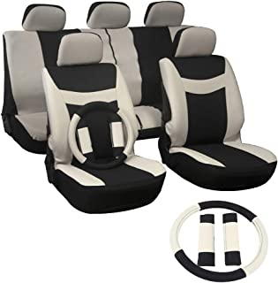SCITOO Universal Beige/Black Car Seat Covers W/Steering Wheel Cover 12PCS Breathable Mesh Cloth Seat Cushion Replacement for Most Cars