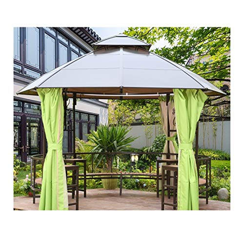 YYDD Villa Garden Furniture, Outdoor Gazebo Lawn Tent, 12x12 FT Outdoor Gazebos for Patios with Netting and Curtains, Backyard Canopy Deck Gazebo, Ideal for BBQ, Party, Family Gathering