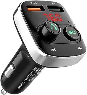 SANKUA(サンクア)FMトランスミッター Bluetooth 5.0 高音質 ハンズフリー通話 microSDカード/USBメモリに対応 2 USBポート QC3.0急速充電 ディスプレ電源オフ 12V/24V車対応 日本周波数仕様 76.0~90.0Mhz 日本語説明書付き