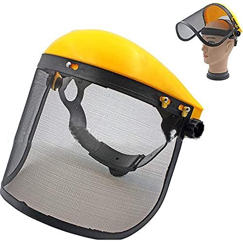 WEISHA 1PC Casque de Protection avec écran Facial de sécurité, pour Protection de Tondeuse à Gazon pour débroussailleuse Casque de Protection Chantier Protection forestière Jaune