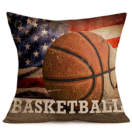 Vintage Rustic American Flag with Basketball Throw Pillow Cover for July 4th Independence Day Decorative Pillow Covers Cotton Linen Throw Pillow Case Patriotic Cushion Cover 18 x 18(Basketball Flag)
