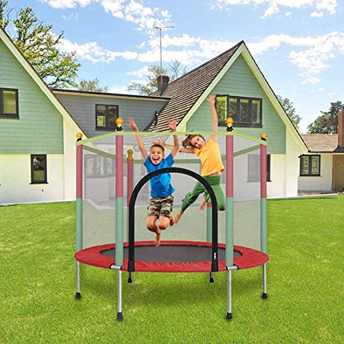 Kids Basketball Hoop Trampoline, 5 FT Kids Trampoline with Enclosure Net Jumping Mat And Spring Cover Padding Outdoor Trampoline Parent-Child Interactive Game Fitness Trampoline