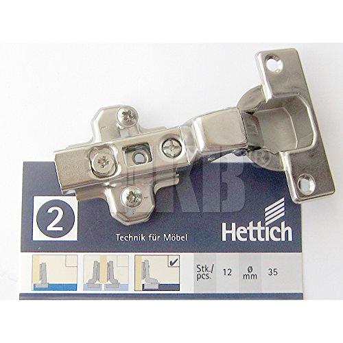 HKB ® 1 Stück Topfscharnier Ecomat 110°, Topf-ø = 35mm, für innenliegende Türen, Stahl verzinkt, mit Kreuzmontageplatte und Schrauben, Hersteller Hettich, Artikel-Nr. 733