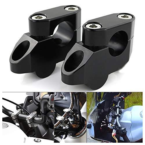 オートバイハンドルバー ライザー ハンドルポストφ22mm/22.2mmバー汎用 ハンドルバー ライザー スタンダード CNC加工、に適合するZ125/Grom MSX125/ CB400/CB1300/CB650F/CRF250L/DRZ400/V-Strom/GSX250R/ST250/GSX-S125/FZ1/FZ6/TT-R230/WR250R / KLX250等用(ブラック)