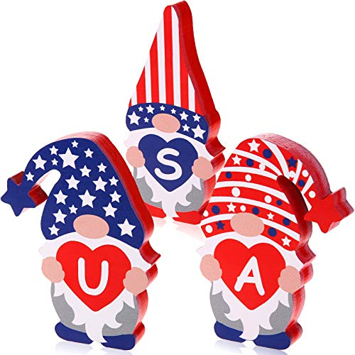 HIYZI Patriotic Table Wooden Signs Gnomes Wood Signs 4th of July Tiered Tray Decoration for Memorial Day Independence Day Desk Office Home Party Decoration (Classic Style 2)