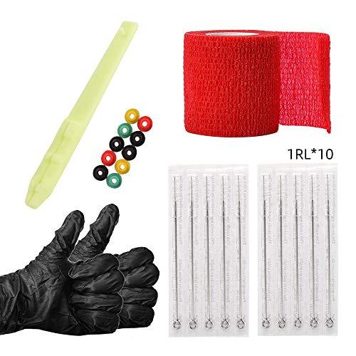 Agujas de tatuaje,Anself Hand Poke and Stick Kit, agujas de tatuaje desechables, guantes, ojales, incluye 1RL / 3RL / 5RL / 7RL / 9RL, accesorios para herramientas de tatuaje