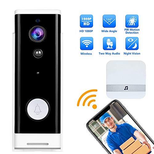 M-TOP Timbre Inalámbrico Camara Exterior, 1080P HD Videoportero WiFi Alexa con Visión Nocturna, Comunicación Bidireccional, Detección de Movimiento PIR, para Casa de 1 Familia,Blanco,EU Voltage B