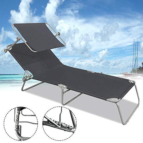 Froadp Faltbare Liegen Gartenmöbel Klappbar Relaxsessel Freizeit Strandliegen für Garten Haushalt Pool Strand 188x56x27cm(Schwarz mit Dach)