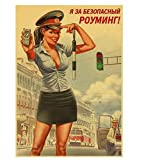 LGXINGLIyidian Seconda Guerra Mondiale Rosso Pin-Up delle Ragazze URSS Sovietica Vintage Tela Retro Poster Bar Cafe Soggiorno Parete Decorazioni Decorative St285 40X50Cm