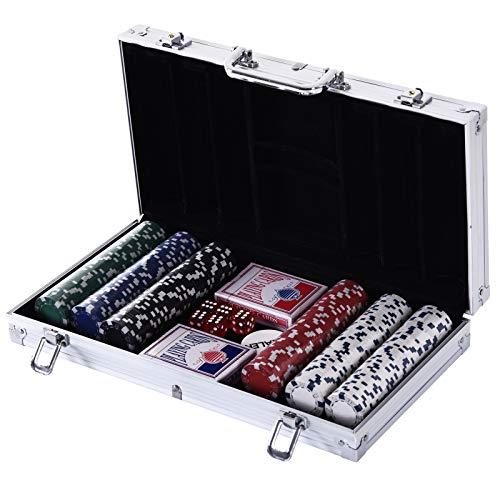 HOMCOM Maletín de Poker Profesional con 300 Fichas y 2 Barajas Juego Set de Poker Casino Aluminio 5 Dados, 2 Barajas y 1 Ficha de Crupier