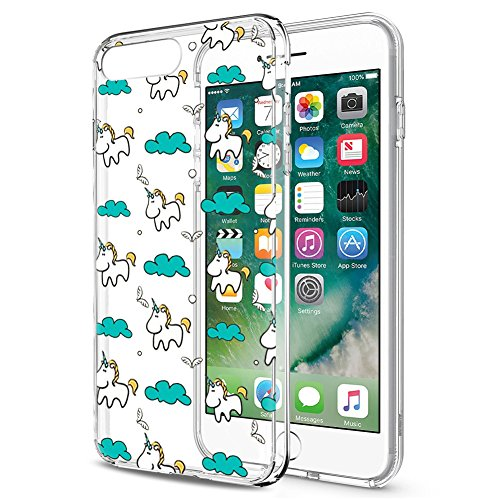 Eouine Funda iPhone 8 Plus, Funda iPhone 7 Plus Cárcasa Silicona 3D Transparente con Dibujos [Antigolpes] Protector Fundas Movil para Apple iPhone 7Plus / 8Plus 2018-5,5 Pulgadas (Unicornio)