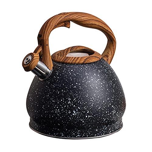 Jarras de té Hervidor de acero inoxidable Handle de grano de madera europeo 3l STARRY SELLERO Botella de agua Botella de agua Inducción de gas Cocina de cocina Hogar Supplie Teteras ( Color : Black )