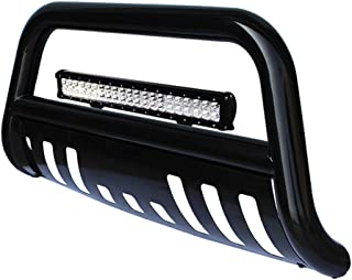 tuokiy Black Bull Bar Bumper Grille Guard for 05-15 Toyota Tacoma with 4D Lens 20inch 126W Led Light Bar +Free Wiring Harness