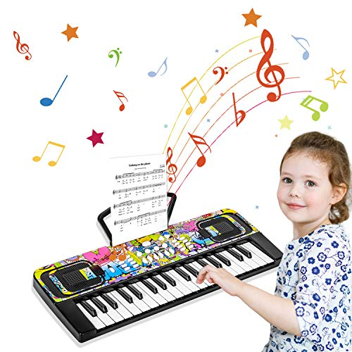 Klavier Keyboard, 37 Tasten Multifunktions-Keyboard Klaviertastatur Elektronischer Einsteiger mit Notenständer Pädagogisches Spielzeug für Baby Kinder Einsteiger