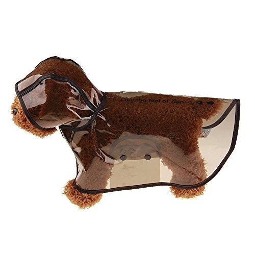 Hawkimin Haustier Hund Regenmantel, 4 Farbes 5 Größens Kunststoff Wasserdichte Modischer und Cool Jacke mit Kapuze Kapuzenjacke Mantel