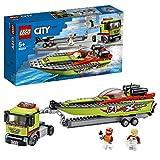 LEGO 60254 Rennboot-Transporter City LKW-Spielzeug mit Anhänger und Schnellboot, schwimmendes Badespielzeug für Kinder von 5 bis 7 Jahren