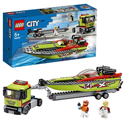 LEGO 60254 City Great Vehicles Race Boat Transporter Truck Toy with Trailer and Speedboat, Floating Bath Toy for Kids 5 to 7 Year Old