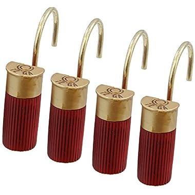 Red Shotgun Shell Shower Curtain Hooks / Rings - 12 Pc Set