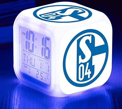 CHENDA Digitaler Wecker,Schalke 04 Fußballverein,Lichtwecker mit LED Licht 7 Farben ändern, Datum, Temperaturanzeige, Snooze Funktion,Geburtstagsgeschenk, Nachtlicht für Kinder, Erwachsene -8