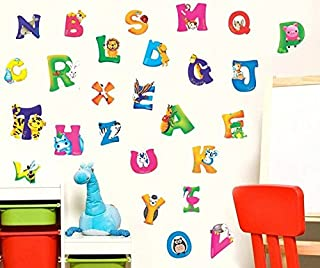 Wall Sticker Decal English Alphabet Animal Letters Kids Room Decor Mural Nursery Daycare and Kindergarten DIY Self adhesive Removable 10 x 17 Inch