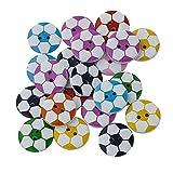 Vektenxi Dauerhafter 100Pcs runder Fußball gemalt 2 Loch-hölzerne nähende Knöpfe für Handwerk