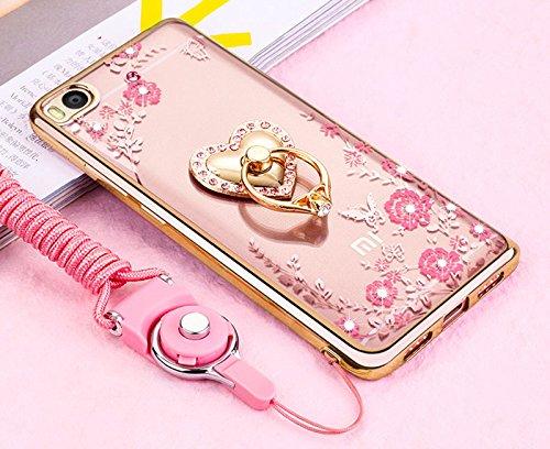 Xiaomi Mi5Funda, ikasus amarillo mariposa floral Bling Crystal Rhinestone Diamante claro chapado en oro marco de goma con correas de color rosa amor corazón Diamantes función atril suave TPU Bumper C