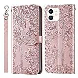ZIRX010044 ZIRX010044 - Custodia a portafoglio in pelle sintetica per iPhone 12 Mini 5,4 pollici, con supporto per carte di credito, colore: Oro rosa