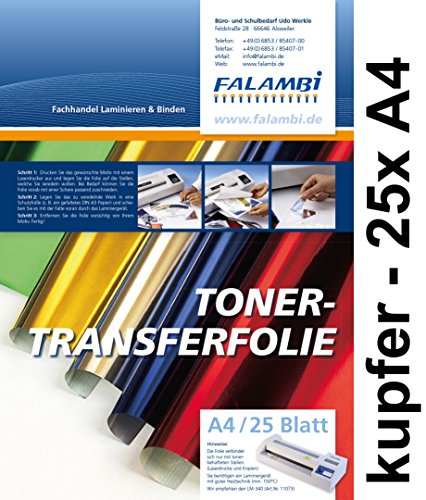 FALAMBI metallic Toner-Thermo-Transferfolie DIN A4 für Laminiergerät, Gold, Silber, Kupfer, rot, blau grün (Kupfer - 25 x A4)