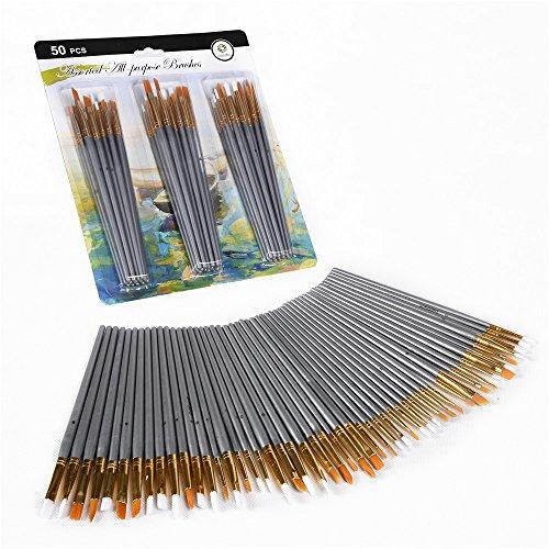 CONDA 50 Pezzi Set di Pennelli da Dipingere Pittura per Acrilico, Olio, Acquerelli