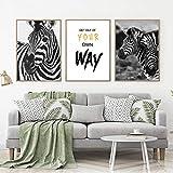 Schwarz und Weiß Tier Leinwand Poster Print Zebra