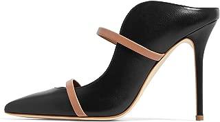 FSJ Women Fashion Pointy Toe Pumps High Heels Mule Sandals Double Straps Slide Shoes Size 4-15 US