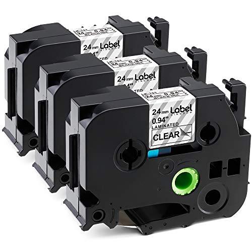 Label KINGDOM Compatible Label Maker Tape Replacement for Ptouch TZe151 TZ151 TZe-151 TZ-151, Black on Clear, 24mm x 8m, 0.94 Inch x 26.2 Feet, Use for PT-D600 PT-P700 PT-P900W, 3-Pack