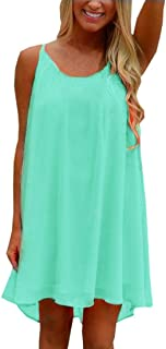 Womens Plus Size Chiffon Bathing Suit Cover ups Spaghetti Strap Beach Cover Up Tank Top