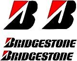 Bridgestone – Vinilos gráficos Pegatinas calcomanías Paquete de 4 Pegatinas, plotteadas sin ningun fondo, trasportador de facil aplicacion.