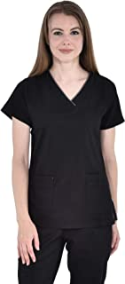 Marilyn Monroe Stretch V-Neck Piping Medical Scrub Top with Multiple Pockets