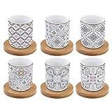 R2S - Juego de 6 Tazas de café con platillos de bambú en Caja de Regalo, Color Gris