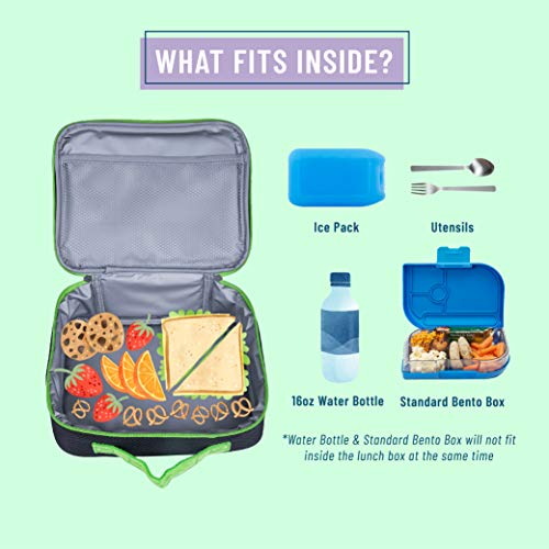 Wildkin Kids Insulated Lunch Box Bag for Men and Women, Ideal Size for Packing Hot or Cold Snacks for Work & Travel, Measures 9.75 x 7 x 3.25 Inches, Mom's Choice Award Winner (Rip-Stop Black/Green)