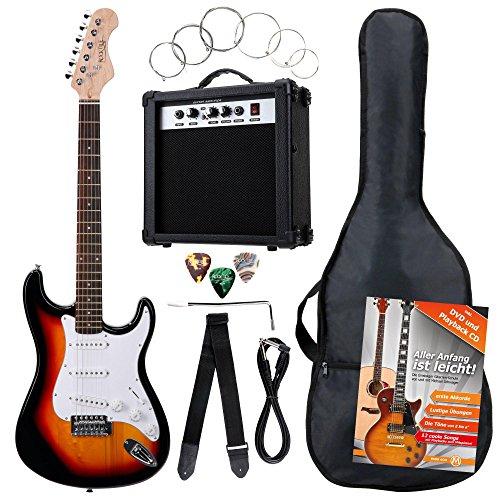 Rocktile Banger\'s Pack Komplettset E-Gitarre Sunburst (Verstärker, Tremolo, Tasche, Kabel, Gurt, Plecs, Ersatzsaiten und Schule mit CD/DVD)