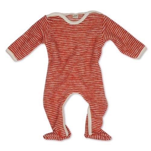 Lilano Anzug mit Fuß, Farbe Rot-Natur, Größe 74 aus 100% Schurwolle kbT Wollbody®