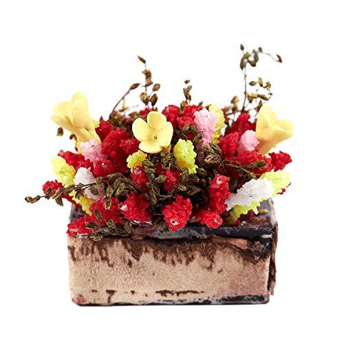 wivarra Arbusto Flor Multicolor con pote de Madera Miniatura casa de munecas 1/12
