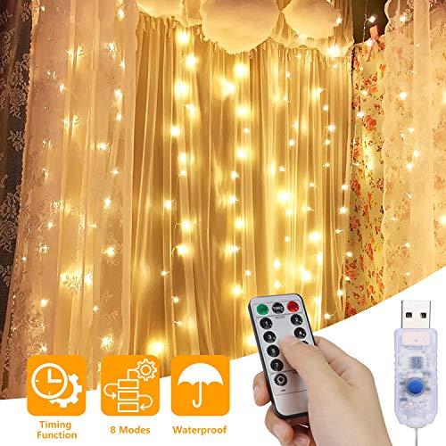 Lichtervorhang, USB Lichterkettenvorhang 3M*3M 300 LED 8 Lichtmodi mit Fernbedienung, Lichterkette...