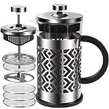 FAVIA Cafetera Francesa,French Press con 4 filtros, Cafetera émbolo de Acero Inoxidable para camping, portátil, apto para lavavajillas,0,35 litro (2 Tazas)