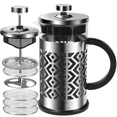 FAVIA French Press Kaffeebereiter mit 4 Filtern, hitzebeständig, langlebig, Borosilikatglas, für Camping, tragbar, spülmaschinenfest(Diamond)