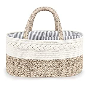 Baby Diaper Caddy Organizer – Stylish Cotton Rope Baby Basket Nursery Storage Organizer for Changing Table, Maliton Extra Large Diaper Caddy for Baby Stuff, Best Baby
