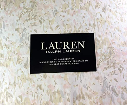 Lauren King Size Pastel Abstract Watercolor Sheet Set Cotton Pink, Taupe and Gray