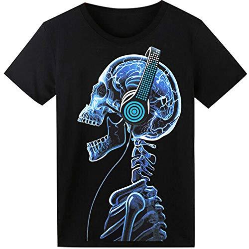 LED T-Shirt für Party Hiphop Cosplay Konzert Geburtstagsgeschenk Beste Christmas Kostüm Sound Aktiviertes Equalizer Shirt DJ T-Shirt(Kopfhörer Schädel)