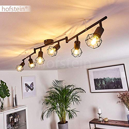 Lámpara de techo Baripada, 6 focos de metal negro, lámpara de techo retro, 6 x E14 máx. 40 W, los cabezales de la lámpara son giratorios y orientables, adecuada para bombillas LED