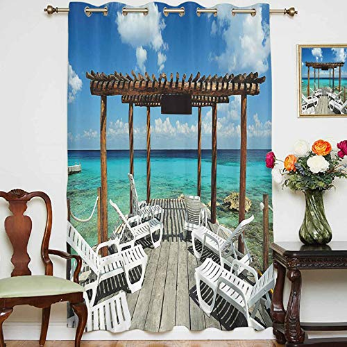 Blackout Curtains Panels Beach Sunbeds Ocean Sea Scenery with Wooden Seem Pier Image Thermal Insulated Blackout Window Curtains/Drapes for Home Decor,1 Panel,54' x 63',Blue White and Light Brown
