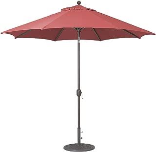 Galtech 9-Ft (Model 737) Deluxe Auto-Tilt Umbrella w/Henna Sunbrella Fabric & Antique Bronze Frame
