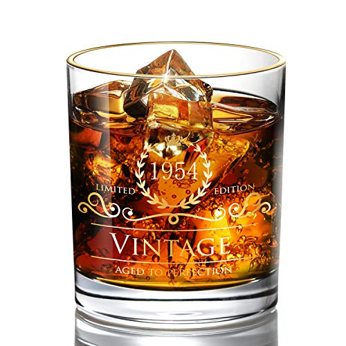 1954 66th Birthday Gifts for Men/Dad/Son, Vintage Unfading 24K Gold Hand Crafted Old Fashioned Whiskey Glasses, Perfect for Gift and Home Use - 10 oz Bourbon Scotch, Party Decorations